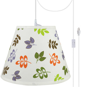 "# 72190-21 One-Light Plug-In Swag Pendant Light Conversion Kit with Transitional Hardback Empire Fabric Lamp Shade, Off White, 13"" width"