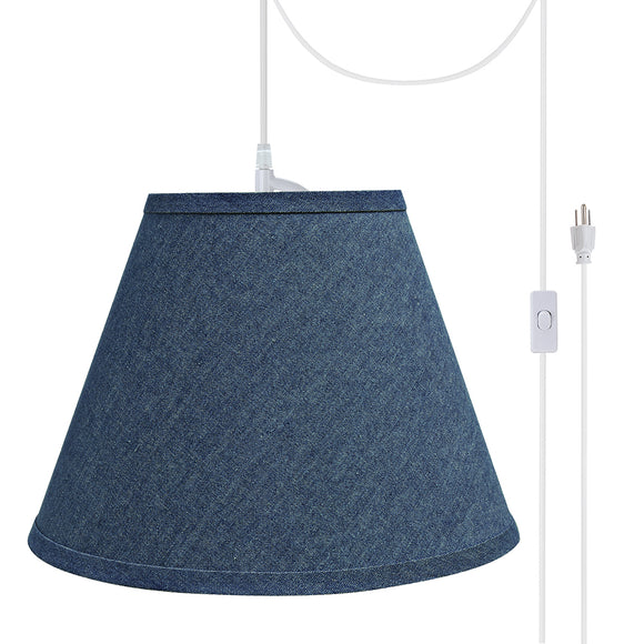 # 72194-21 One-Light Plug-In Swag Pendant Light Conversion Kit with Transitional Hardback Empire Fabric Lamp Shade, Washing Blue, 12