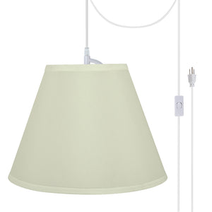 "# 72195-21 One-Light Plug-In Swag Pendant Light Conversion Kit with Transitional Hardback Empire Fabric Lamp Shade, Off White, 12"" width"