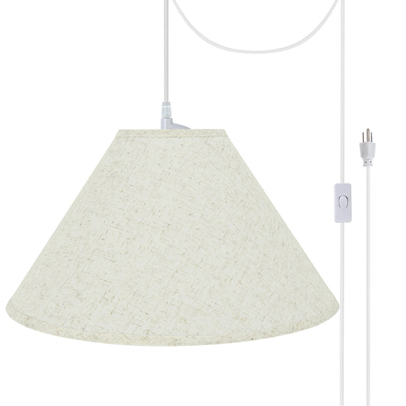 # 72202-21 Two-Light Plug-In Swag Pendant Light Conversion Kit with Transitional Hardback Empire Fabric Lamp Shade, Flaxen, 12