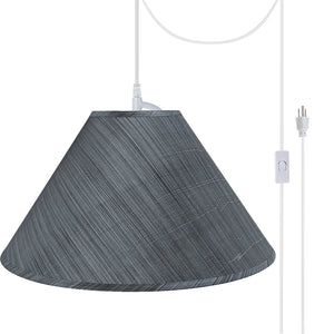 "# 72203-21 Two-Light Plug-In Swag Pendant Light Conversion Kit with Transitional Hardback Empire Fabric Lamp Shade, Grey-Black, 19"" width"