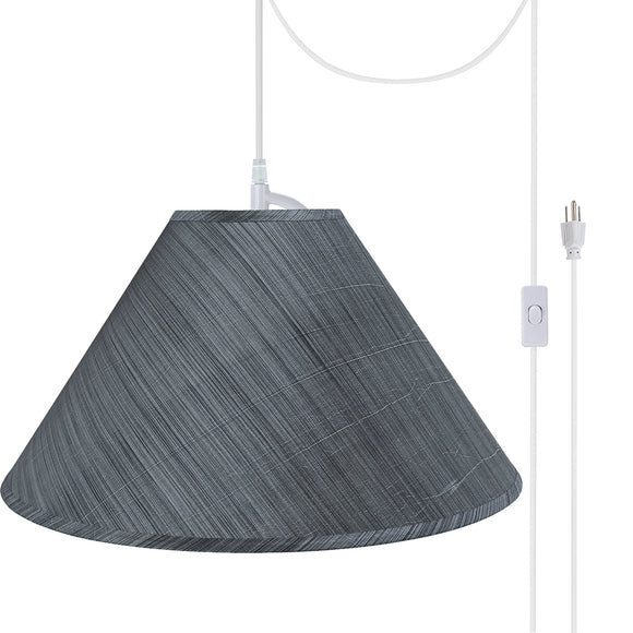 # 72203-21 Two-Light Plug-In Swag Pendant Light Conversion Kit with Transitional Hardback Empire Fabric Lamp Shade, Grey-Black, 19