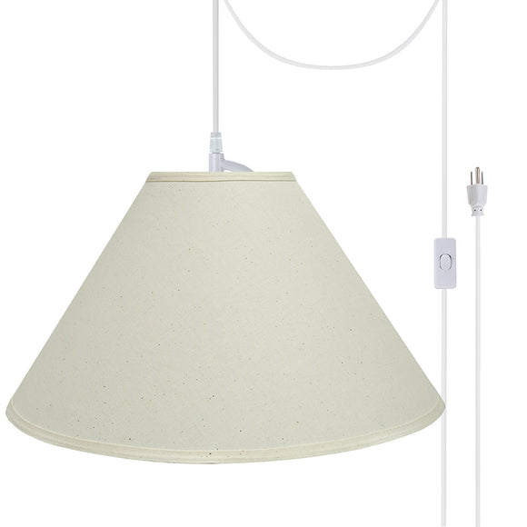 # 72204-21 Two-Light Plug-In Swag Pendant Light Conversion Kit with Transitional Hardback Empire Fabric Lamp Shade, Off White, 19