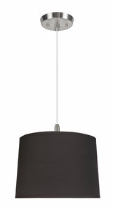 "# 72222-11 One-Light Hanging Pendant Ceiling Light with Transitional Hardback Empire Fabric Lamp Shade, Black, 12"" width"