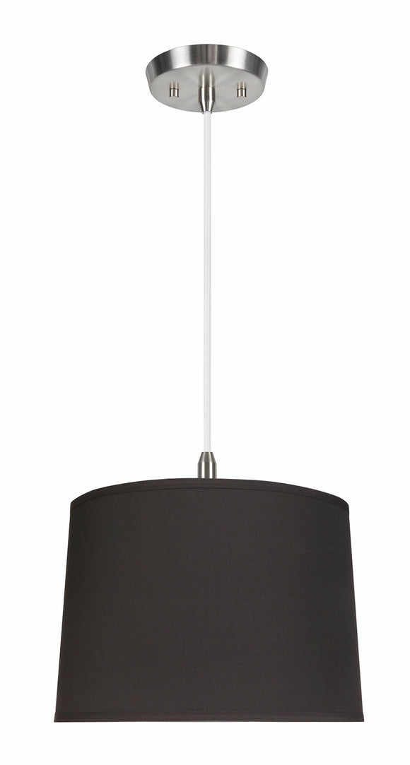 # 72222-11 One-Light Hanging Pendant Ceiling Light with Transitional Hardback Empire Fabric Lamp Shade, Black, 12
