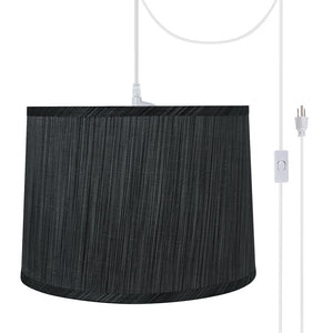 "# 72223-21 One-Light Plug-In Swag Pendant Light Conversion Kit with Transitional Hardback Empire Fabric Lamp Shade, Grey & Black, 12"" width"