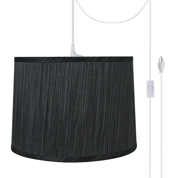 # 72223-21 One-Light Plug-In Swag Pendant Light Conversion Kit with Transitional Hardback Empire Fabric Lamp Shade, Grey & Black, 12