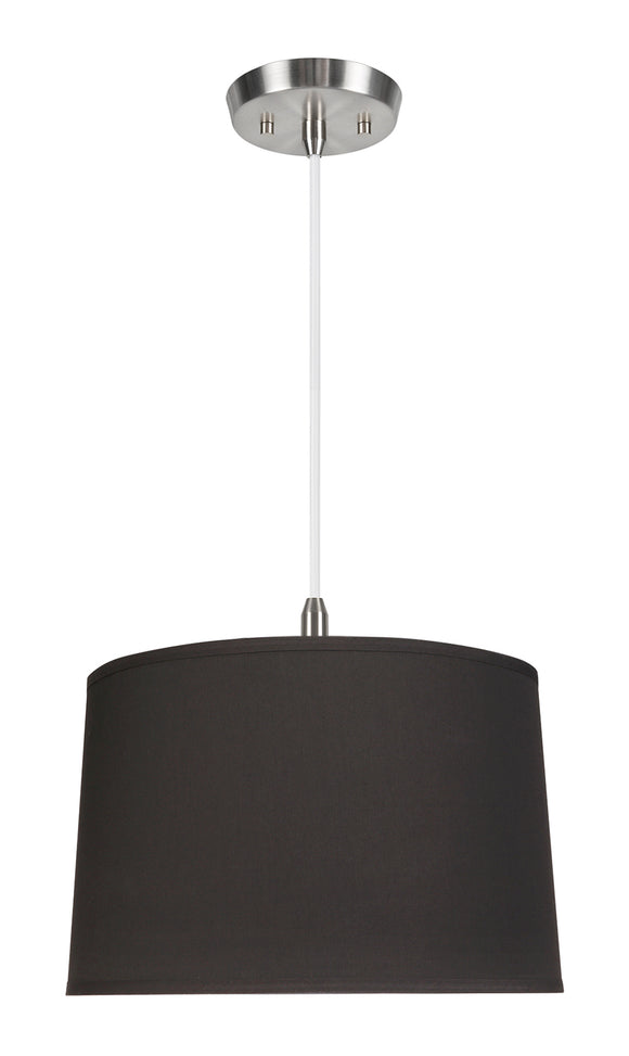 # 72242-11 One-Light Hanging Pendant Ceiling Light with Transitional Hardback Empire Fabric Lamp Shade, Black, 14