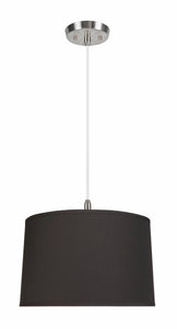 "# 72252-11 Two-Light Hanging Pendant Ceiling Light with Transitional Hardback Empire Fabric Lamp Shade, Black, 18"" width"