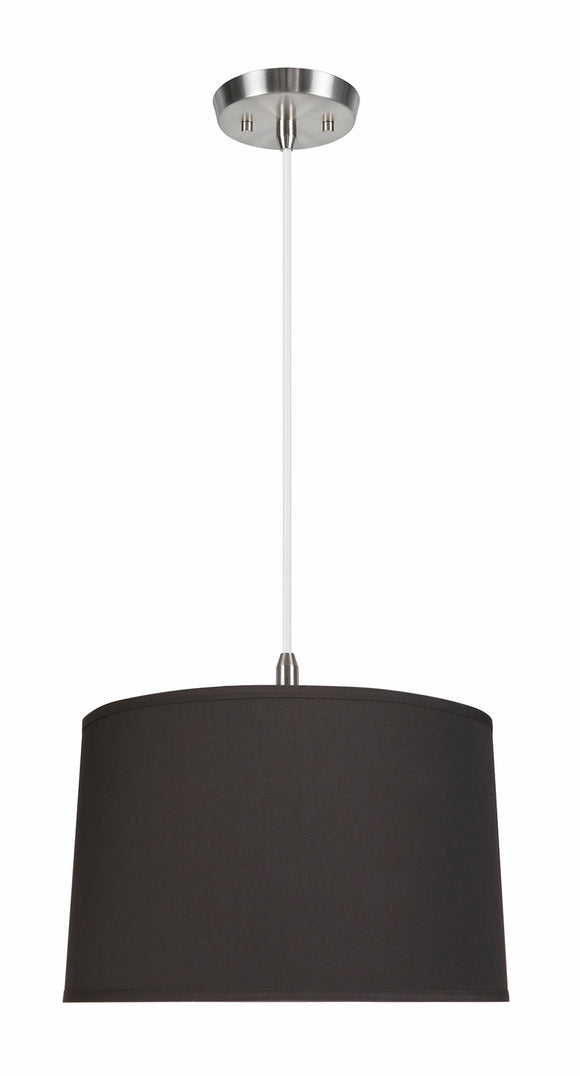 # 72252-11 Two-Light Hanging Pendant Ceiling Light with Transitional Hardback Empire Fabric Lamp Shade, Black, 18