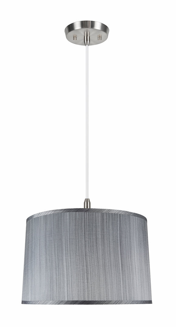 # 72253-11 Two-Light Hanging Pendant Ceiling Light with Transitional Hardback Empire Fabric Lamp Shade, Grey & Black, 18