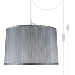 "# 72253-21 Two-Light Plug-In Swag Pendant Light Conversion Kit with Transitional Hardback Empire Fabric Lamp Shade, Grey & Black, 18"" width"