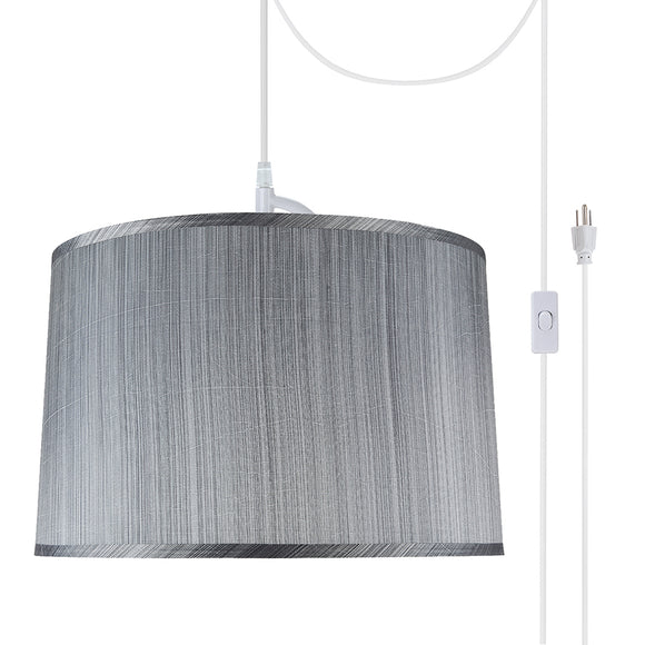 # 72253-21 Two-Light Plug-In Swag Pendant Light Conversion Kit with Transitional Hardback Empire Fabric Lamp Shade, Grey & Black, 18