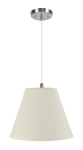 "# 72287-11 One-Light Hanging Pendant Ceiling Light with Transitional Hardback Empire Fabric Lamp Shade, Beige, 14"" width"