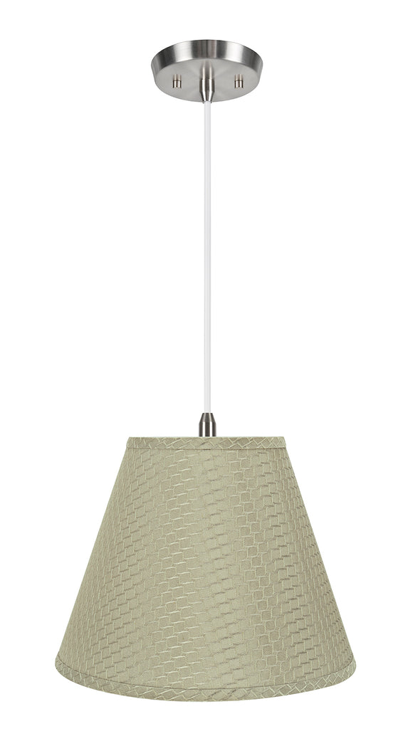 # 72288-11 One-Light Hanging Pendant Ceiling Light with Transitional Hardback Empire Fabric Lamp Shade, Sand Yellow, 14