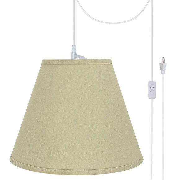 # 72289-21 One-Light Plug-In Swag Pendant Light Conversion Kit with Transitional Hardback Empire Fabric Lamp Shade, Beige, 14