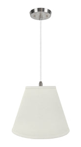 "# 72290-11 One-Light Hanging Pendant Ceiling Light with Transitional Hardback Empire Fabric Lamp Shade, Off White, 14"" width"