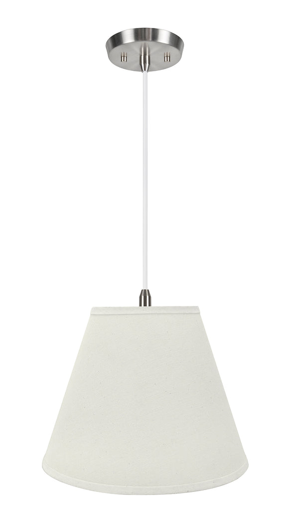 # 72290-11 One-Light Hanging Pendant Ceiling Light with Transitional Hardback Empire Fabric Lamp Shade, Off White, 14