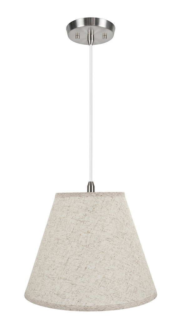 # 72291-11 One-Light Hanging Pendant Ceiling Light with Transitional Hardback Empire Fabric Lamp Shade, Flaxen, 14