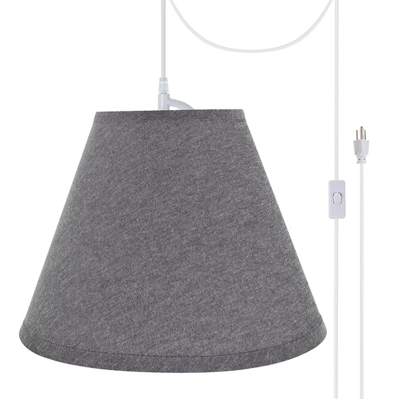 # 72292-21 One-Light Plug-In Swag Pendant Light Conversion Kit with Transitional Hardback Empire Fabric Lamp Shade, Grey, 14