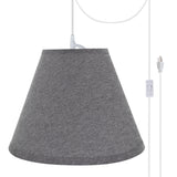 "# 72292-21 One-Light Plug-In Swag Pendant Light Conversion Kit with Transitional Hardback Empire Fabric Lamp Shade, Grey, 14"" width"