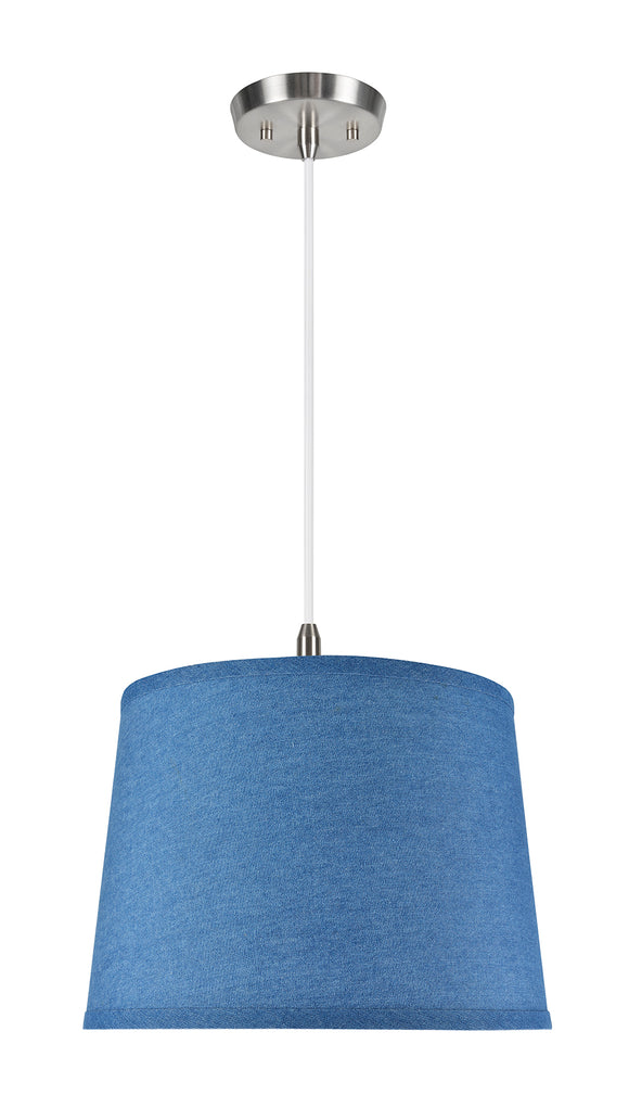 # 72306-11 One-Light Hanging Pendant Ceiling Light with Transitional Hardback Empire Fabric Lamp Shade, Washing Blue, 14