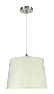 "# 72308-11 One-Light Hanging Pendant Ceiling Light with Transitional Hardback Empire Fabric Lamp Shade, Off White, 14"" width"