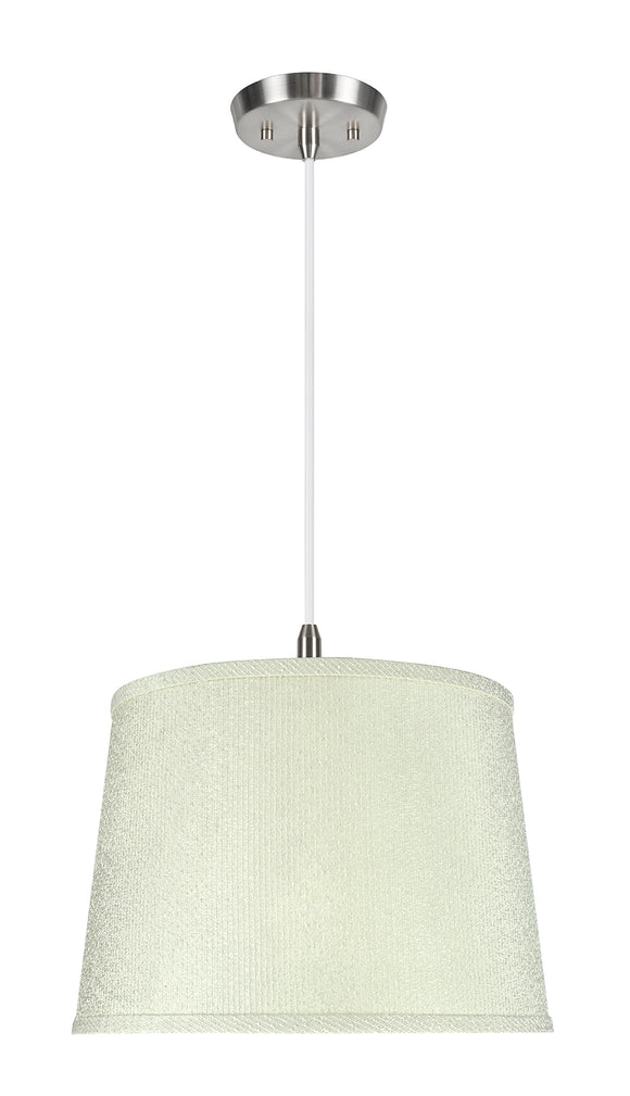 # 72308-11 One-Light Hanging Pendant Ceiling Light with Transitional Hardback Empire Fabric Lamp Shade, Off White, 14
