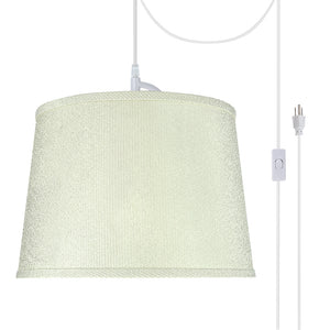 "# 72308-21 One-Light Plug-In Swag Pendant Light Conversion Kit with Transitional Hardback Empire Fabric Lamp Shade, Off White, 14"" width"