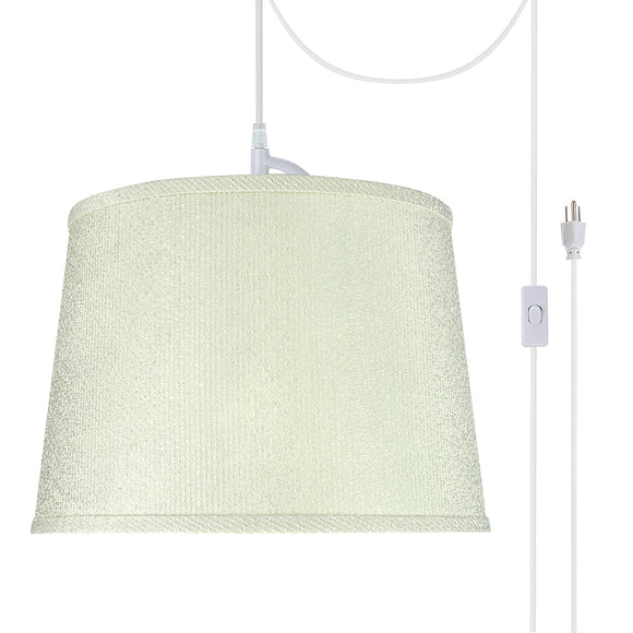 # 72308-21 One-Light Plug-In Swag Pendant Light Conversion Kit with Transitional Hardback Empire Fabric Lamp Shade, Off White, 14