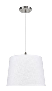 "# 72309-11 One-Light Hanging Pendant Ceiling Light with Transitional Hardback Empire Fabric Lamp Shade, White, 14"" width"