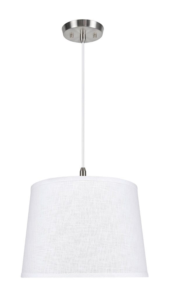 # 72309-11 One-Light Hanging Pendant Ceiling Light with Transitional Hardback Empire Fabric Lamp Shade, White, 14