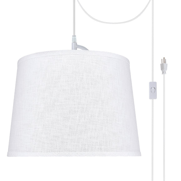 # 72309-21 One-Light Plug-In Swag Pendant Light Conversion Kit with Transitional Hardback Empire Fabric Lamp Shade, White, 14