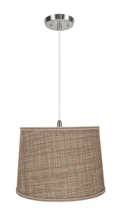 "# 72310-11 One-Light Hanging Pendant Ceiling Light with Transitional Hardback Empire Fabric Lamp Shade, Brown Tweed, 14"" width"