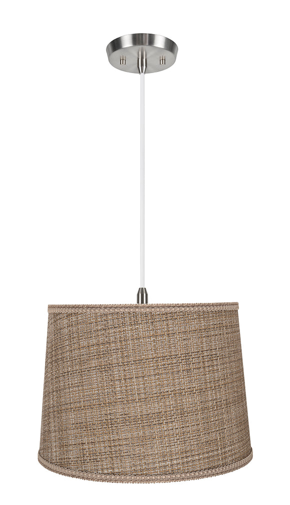 # 72310-11 One-Light Hanging Pendant Ceiling Light with Transitional Hardback Empire Fabric Lamp Shade, Brown Tweed, 14