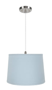"# 72311-11 One-Light Hanging Pendant Ceiling Light with Transitional Hardback Empire Fabric Lamp Shade, Light Blue, 14"" width"