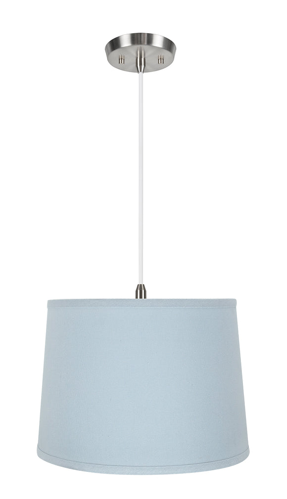 # 72311-11 One-Light Hanging Pendant Ceiling Light with Transitional Hardback Empire Fabric Lamp Shade, Light Blue, 14