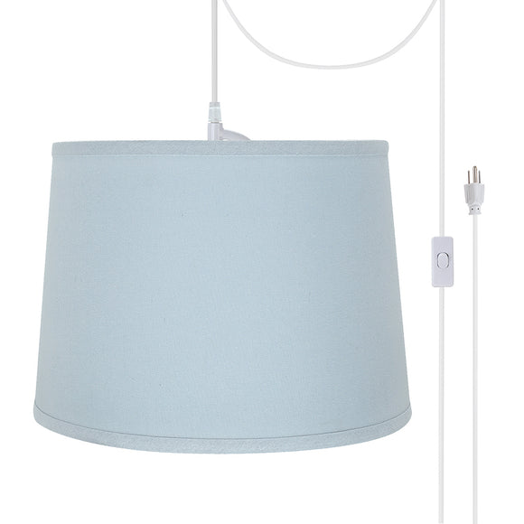 # 72311-21 One-Light Plug-In Swag Pendant Light Conversion Kit with Transitional Hardback Empire Fabric Lamp Shade, Light Blue, 14