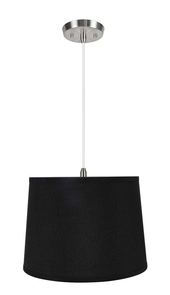 # 72312-11 One-Light Hanging Pendant Ceiling Light with Transitional Hardback Empire Fabric Lamp Shade, Black, 14