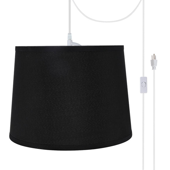 # 72312-21 One-Light Plug-In Swag Pendant Light Conversion Kit with Transitional Hardback Empire Fabric Lamp Shade, Black, 14