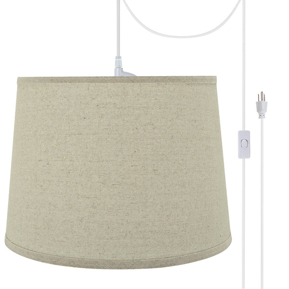 # 72316-21 One-Light Plug-In Swag Pendant Light Conversion Kit with Transitional Hardback Empire Fabric Lamp Shade, Light Grey, 14