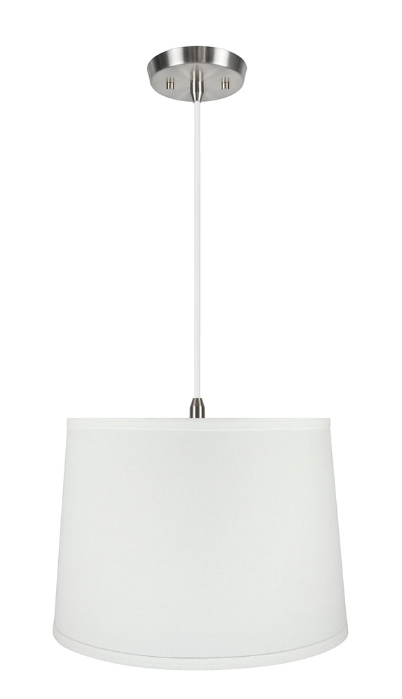 # 72317-11 One-Light Hanging Pendant Ceiling Light with Transitional Hardback Empire Fabric Lamp Shade, White, 14