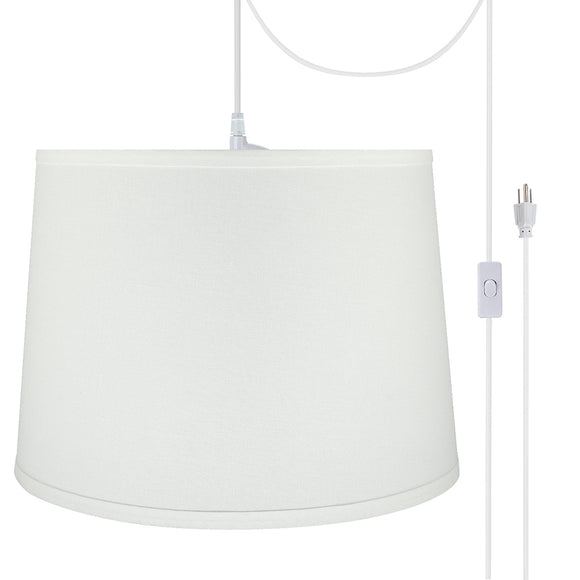 # 72317-21 One-Light Plug-In Swag Pendant Light Conversion Kit with Transitional Hardback Empire Fabric Lamp Shade, White, 14