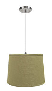 "# 72318-11 One-Light Hanging Pendant Ceiling Light with Transitional Hardback Empire Fabric Lamp Shade, Yellowish Brown, 14"" width"