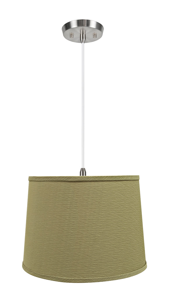 # 72318-11 One-Light Hanging Pendant Ceiling Light with Transitional Hardback Empire Fabric Lamp Shade, Yellowish Brown, 14