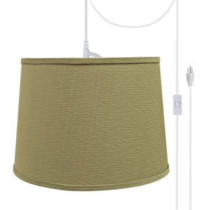 "# 72318-21 One-Light Plug-In Swag Pendant Light Conversion Kit with Transitional Hardback Empire Fabric Lamp Shade, Yellowish Brown, 14"" width"