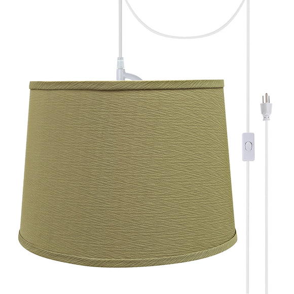 # 72318-21 One-Light Plug-In Swag Pendant Light Conversion Kit with Transitional Hardback Empire Fabric Lamp Shade, Yellowish Brown, 14