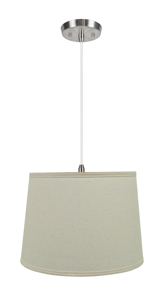 # 72319-11 One-Light Hanging Pendant Ceiling Light with Transitional Hardback Empire Fabric Lamp Shade, Off White, 14