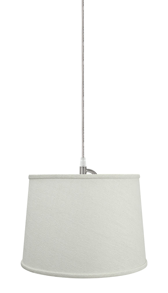 # 72320-11 One-Light Hanging Pendant Ceiling Light with Transitional Hardback Empire Fabric Lamp Shade, Off White, 14