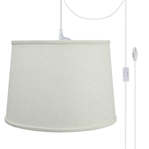 # 72320-21 One-Light Plug-In Swag Pendant Light Conversion Kit with Transitional Hardback Empire Fabric Lamp Shade, Off White, 14